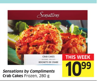 Sensations By Compliments Crab Cakes Frozen - 280 g