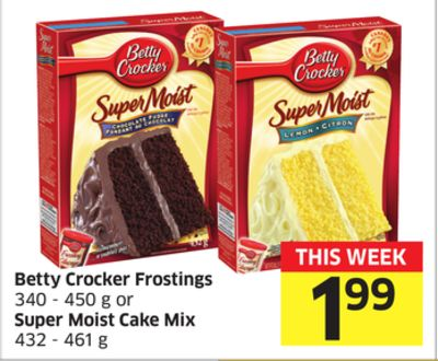 Betty Crocker Frostings 340 - 450 g or Super Moist Cake Mix 432 - 461 g