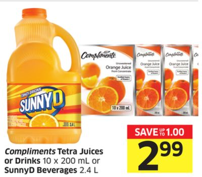 Compliments Tetra Juices or Drinks 10 X 200 mL or Sunnyd Beverages 2.4 L