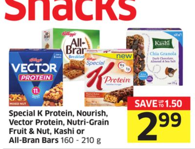 Special K Protein - Nourish - Vector Protein - Nutri-grain Fruit & Nut - Kashi or All-bran Bars 160 - 210 g