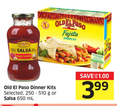 Old El Paso Dinner Kits Selected - 250 - 510 g or Salsa 650 mL