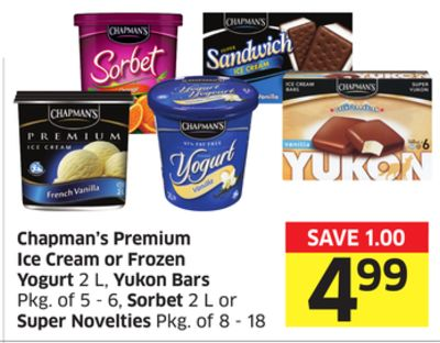 Chapman's Premium Ice Cream or Frozen Yogurt 2 L - Yukon Bars Pkg of 5 - 6 - Sorbet 2 L or Super Novelties Pkg of 8 - 18
