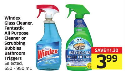 Windex Glass Cleaner - Fantastik All Purpose Cleaner or Scrubbing Bubbles Bathroom Triggers Selected - 650 - 950 mL