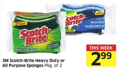 3m Scotch-brite Heavy Duty or All Purpose Sponges Pkg of 2