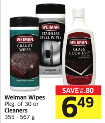 Weiman Wipes Pkg of 30 or Cleaners 355 - 567 g