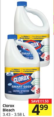 Clorox Bleach 3.43 - 3.58 L