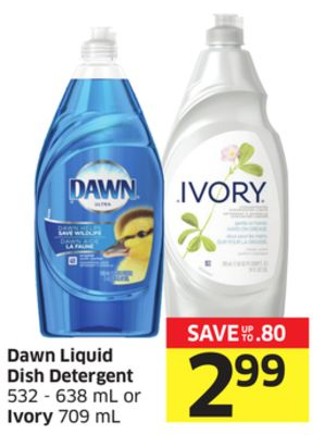 Dawn Liquid Dish Detergent 532 - 638 mL or Ivory 709 mL