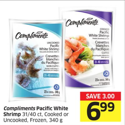 Compliments Pacific White Shrimp 31/40 Ct - Cooked or Uncooked - Frozen - 340 g
