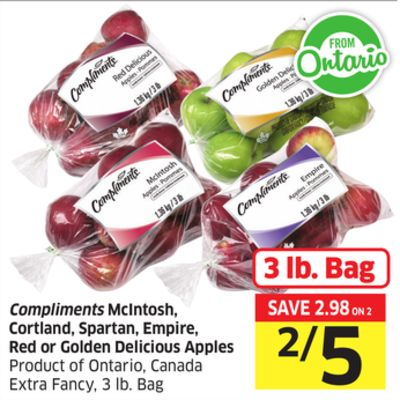 Compliments Mcintosh - Cortland - Spartan - Empire - Red or Golden Delicious Apples Product of Ontario - Canada Extra Fancy - 3 Lb. Bag