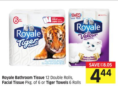 Royale Bathroom Tissue 12 Double Rolls - Facial Tissue Pkg of 6 or Tiger Towels 6 Rolls