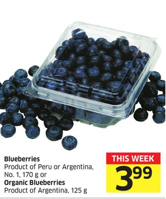 Blueberries Product of Peru or Argentina - No.1 - 170 g or Organic Blueberries Product of Argentina - 125 g