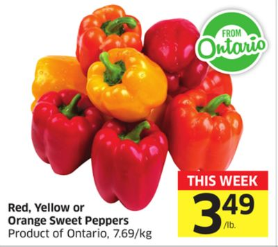 Red - Yellow or Orange Sweet Peppers Product of Ontario - 7.69/kg