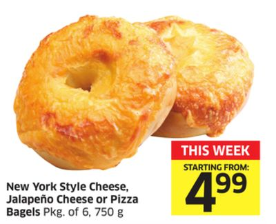 New York Style Cheese - Jalapeño Cheese or Pizza Bagels Pkg of 6 - 750 g