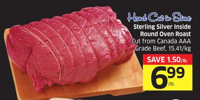 Sterling Silver Inside Round Oven Roast Cut From Canada Aaa Grade Beef - 15.41/kg