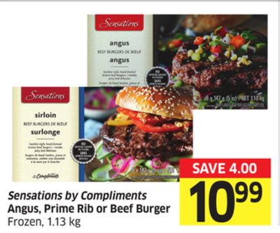Sensations By Compliments Angus - Prime Rib or Beef Burger Frozen - 1.13 Kg