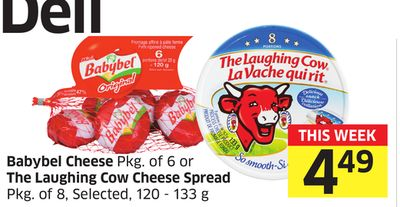 Babybel Cheese Pkg of 6 or The Laughing Cow Cheese Spread Pkg of 8 - Selected - 120 - 133 g