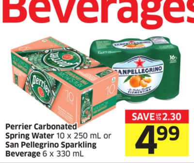 Perrier Carbonated Spring Water 10 X 250 mL or San Pellegrino Sparkling Beverage 6 X 330 mL