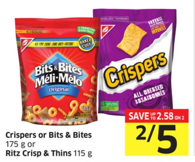 Crispers or Bits & Bites 175 g or Ritz Crisp & Thins 115 g