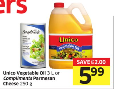 Unico Vegetable Oil 3 L or Compliments Parmesan Cheese 250 g