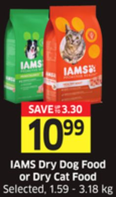 Iams Dry Dog Food or Dry Cat Food Selected - 1.59 - 3.18 Kg