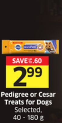 Pedigree or Cesar Treats For Dogs Selected - 40 - 180 g