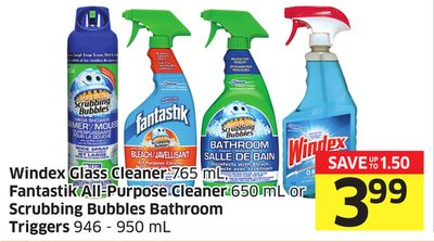 Windex Glass Cleaner 765 mL - Fantastik All-purpose Cleaner 650 mL or Scrubbing Bubbles Bathroom Triggers 946 - 950 mL