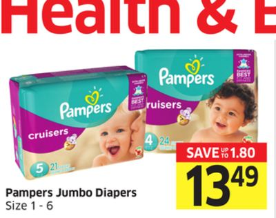Pampers Jumbo Diapers Size 1 - 6