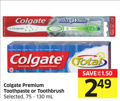Colgate Premium Toothpaste or Toothbrush Selected - 75 - 130 mL