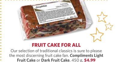 Compliments Light Fruit Cake or Dark Fruit Cake - 450 g