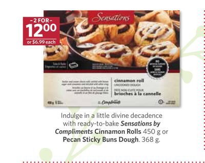 Sensations By Compliments Cinnamon Rolls 450 g or Pecan Sticky Buns Dough - 368 g