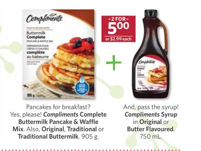 Compliments Complete Buttermilk Pancake & Waffle Mix. Also - Original - Traditional or Traditional Buttermilk - 905 g