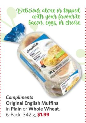 Compliments Original English Muffins In Plain or Whole Wheat - 6-pack - 342 g