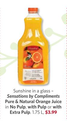 Sensations By Compliments Pure & Natural Orange Juice In No Pulp - With Pulp or With Extra Pulp. 1.75 L