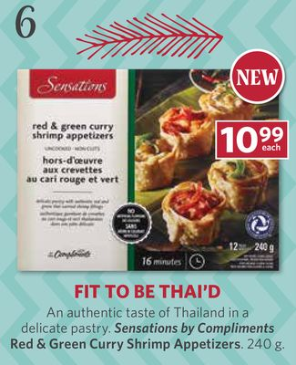 Sensations By Compliments Red & Green Curry Shrimp Appetizers - 240 g