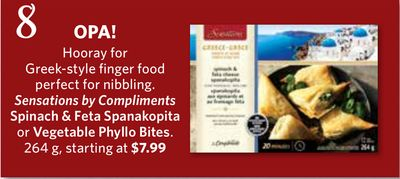 Sensations By Compliments Spinach & Feta Spanakopita or Vegetable Phyllo Bites - 264 g