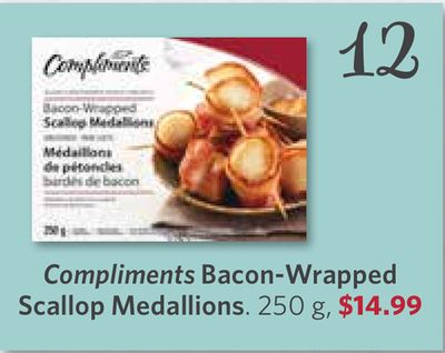 Compliments Bacon-wrapped Scallop Medallions - 250 g