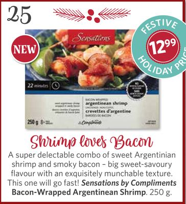 Sensations By Compliments Bacon-wrapped Argentinean Shrimp - 250 g