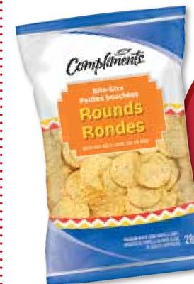 Compliments Tortilla Chips - Bite-size Rounds. Also - Yellow Corn Rounds - White Restaurant or Multigrain Rounds - 240-280 g