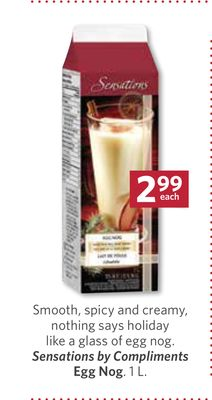Sensations By Compliments Egg Nog - 1 L