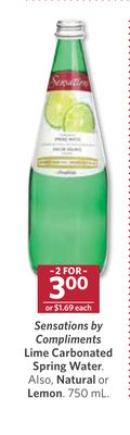 Sensations By Compliments Lime Carbonated Spring Water. Also - Natural or Lemon - 750 mL