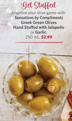 Sensations By Compliments Greek Green Olives Hand Stuffed With Jalapeño or Garlic