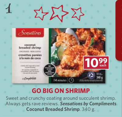 Sensations By Compliments Coconut Breaded Shrimp. 340 g