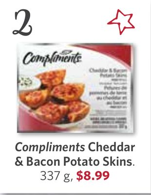 Compliments Cheddar & Bacon Potato Skins - 337 g