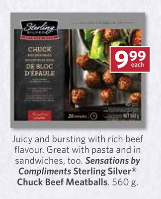 Sensations By Compliments Sterling Silver Chuck Beef Meatballs - 560 g