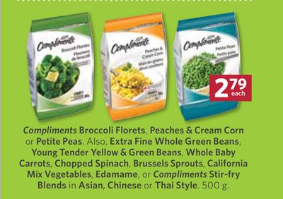 Compliments Broccoli Florets - Peaches & Cream Corn or Petite Peas - 500 g