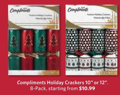 Compliments Holiday Crackers 10'' or 12in - 8-pack