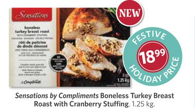 Sensations By Compliments Boneless Turkey Breast Roast With Cranberry Stuffing - 1.25 Kg