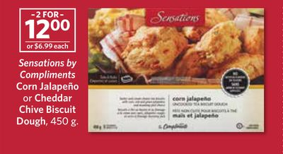 Sensations By Compliments Corn Jalapeño or Cheddar Chive Biscuit Dough - 450 g