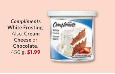 Compliments White Frosting Also - Cream Cheese or Chocolate - 450 g