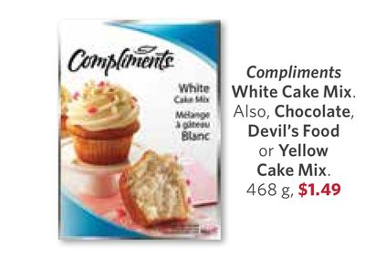 Compliments White Cake Mix. Also - Chocolate - Devil's Food or Yellow Cake Mix - 468 g